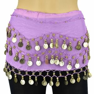 THREE Purple Belly Dance Skirt With Gold Coins